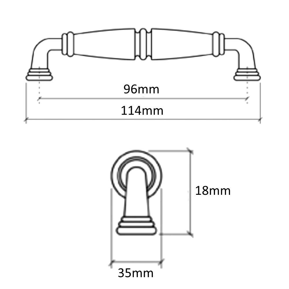 Tirador para caj/ón alacena puerta mueble armario Elorn oro cer/ámico 96mm AERZETIX 6 piezas