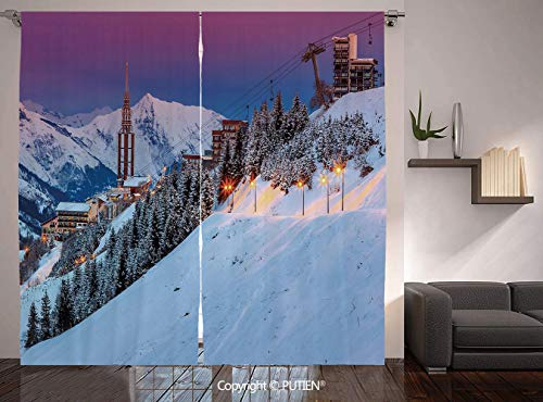 PUTIEN Thermal Insulated Blackout Window Curtain [ Winter,Majestic Winter Sunrise Landscape and Ski Resort Spruce Pine Forest French Alps, for Living Room Bedroom Dorm Room Classroom Kitchen Cafe (Best Midwest Ski Resorts)