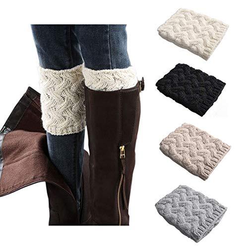 Bestjybt Womens Short Boots Socks Crochet Knitted Boot Cuffs Leg Warmers Socks (4 Pairs-Style 01)