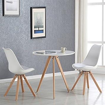Designetsamaison Esstisch rund skandinavischen weiß 80 cm – Oslo ...