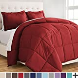 Bare Home Ultra-Soft Premium 1800 Series Goose Down Alternative Comforter Set - Hypoallergenic - All Season - Plush Siliconized Fiberfill (Full/Queen, Red)