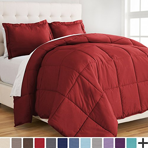 Bare Home Ultra-Soft Premium 1800 Series Goose Down Alternative Comforter Set - Hypoallergenic - All Season - Plush Siliconized Fiberfill (Full/Queen, Red) - Premium Full Bedding Set