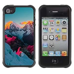 Suave TPU GEL Carcasa Funda Silicona Blando Estuche Caso de protección (para) Apple Iphone 4 / 4S / CECELL Phone case / / Alaska Mountain Sunset Vibrant Blue Pink /