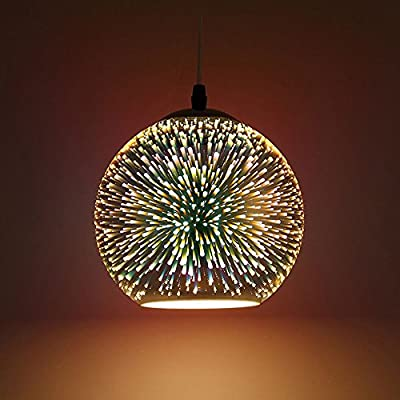 """Creative Pendant Light, Frideko Modern 3D Colourful Glass Fireworks Flush Mount Loft Ceiling Pendant Lamp Shade with 47.24"""" Chain for Kitchen, Living Room, Restaurant (Dia.: ø15CM)"""
