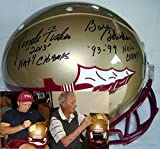 This Florida State Seminoles Full Size Authentic Game Model Football helmet has been hand signed by Coach Bobby Bowden and Coach Jimbo Fisher. This Riddell authentic on-field helmet was signed on 6-9-15 by Jimbo Fisher and 6-10-15 by Bobby Bo...