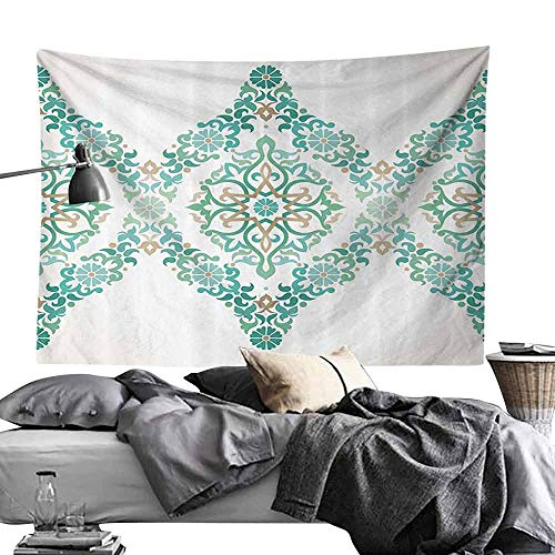 Commemorative Tapestry Traditional House Decor Ottoman Mosaics in Tones Royal Elegance Victorian Palace Retro Print Bedroom Home Decor W84 x L54 Teal