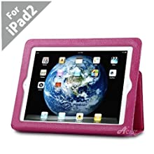 Acase (TM) 100% Genuine Leather EZ Carry Case with 3 in 1 built in Stand for Apple iPad 2 (Pink)