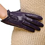 CWJ Women's Real Leather Gloves Cashmere Lined Short Fashion Classic Driving Leather Gloves 4 Colors,Purple,X-Large