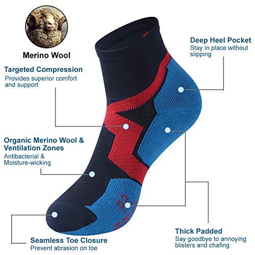Trail Running Socks, ZEALWOOD Athletic Running Socks for Men and Women,Merino Wool Low Cut Antibacterial Wicking Socks 3 Pairs-Blue Black by ZEALWOOD (Image #3)