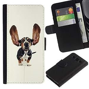 Basset Hound Dog Ears Pet Puppy - la tarjeta de Crédito Slots PU Funda de cuero Monedero caso cubierta de piel Samsung Galaxy S3 III I9300