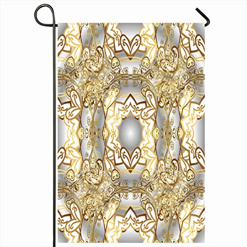 Ahawoso Outdoor Garden Flag 12x18 Inches Style Elegance Brown Antique Good Birthday Holidays Abstract Gray Baroque Border Classic Curve Damask Design Ornate Seasonal Double Sides House Yard Sign
