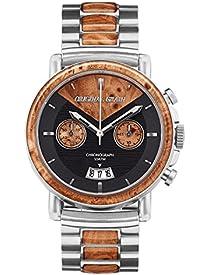Original Grain Wood Wrist Watch | Alterra Collection 44MM Chronograph Watch | Wood and Stainless Steel Watch Band | Japanese Quartz Movement | Burl Wood