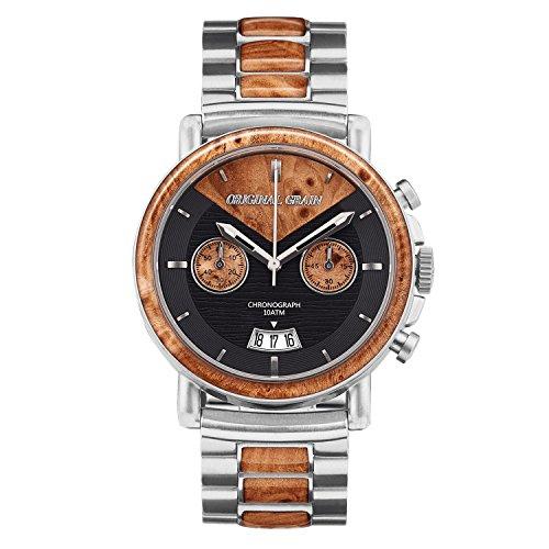 Premier Japanese Quartz Movement Watch (Original Grain Wood Wrist Watch   Alterra Collection 44MM Chronograph Watch   Wood And Stainless Steel Watch Band   Japanese Quartz Movement   Burl Wood)