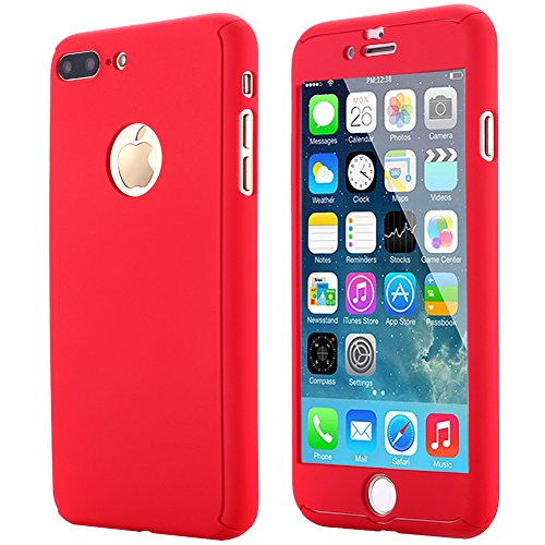 iPhone 7 Plus Case,AICase Ultra Thin Full Body Coverage Protection Soft PC [Dual Layer][Slim Fit] Case with Tempered Glass Screen Protector for iPhone 7 Plus (Red)