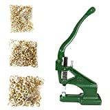 Flexzion Grommet Machine Kit with 3 Dies (#0#2#4) Sets & 900 Pieces Grommets Brass Golden Eyelet Hand Press Flag Banner Hole Making Punch Tool for Tags Bags Curtains Belts