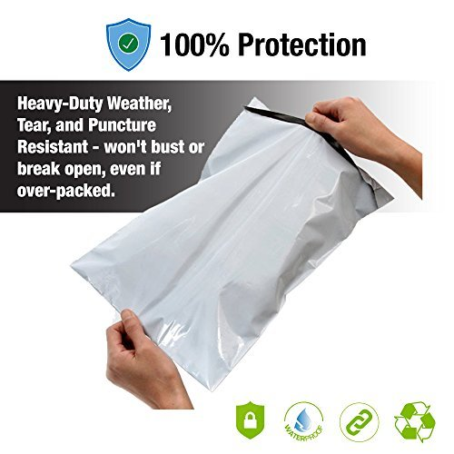 Poly Mailer Shipping Bags Plastic Envelopes Courier and business mailers for Postage and Postal Mailing - Strong - Self Sealing and Waterproof - 100 bags of 10 x 13 inch - White
