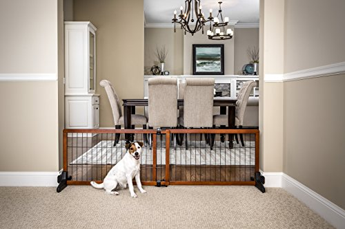 Carlson 68-Inch Wide Adjustable Freestanding Pet Gate, Premium Wood (Pet Wood)