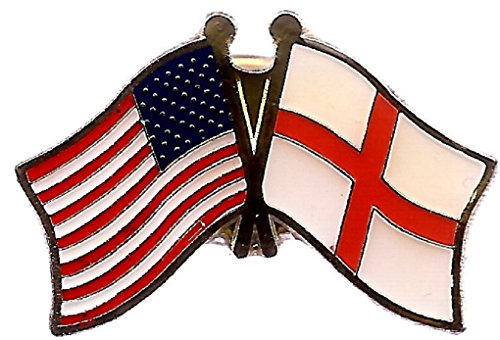 Pack of 3 England St. George Cross & US Crossed Double Flag Lapel Pins, English & American Friendship Pin Badge ()