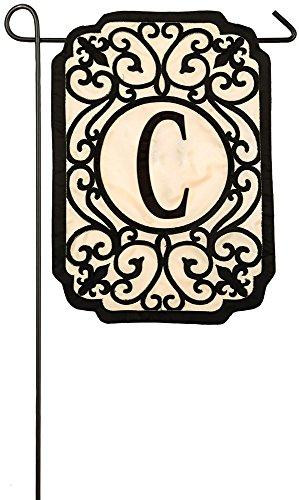 Evergreen Filigree Monogram C Applique Garden Flag, 12.5 x 18 inches