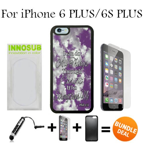(Philippians 4-13 Religious Bible Verse Inspirational Custom iPhone 6 PLUS Cases/6S PLUS Cases-Black-Plastic,Bundle 3in1 Comes with HD Tempered Glass/Universal Stylus Pen by innosub)