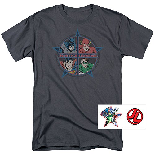 Batman+Retro+Shirts Products : Justice League Superman Batman Flash Retro T Shirt & Stickers