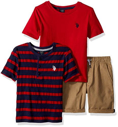 U.S. Polo Assn. Boys' Toddler Sleeve, T-Shirt and Short Set, Henley Stripes Engine red, 2T