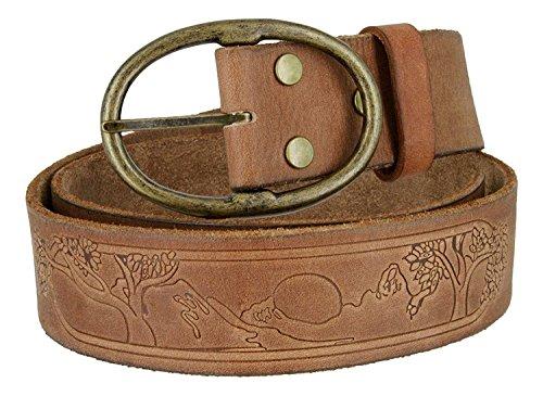 Tree of Life Genuine Full Grain Leather Belt for Women(Brown, 42)