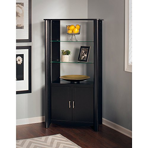 Aero Tall Library Storage Cabinet with (Corner Cabinet Glass Doors)
