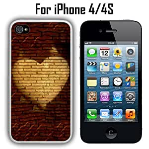Heart Red Brick Wall Custom Case/ Cover/Skin *NEW* Case for Apple iPhone 4/4S - White - Rubber Case (Ships from CA) Custom Protective Case , Design Case-ATT Verizon T-mobile Sprint ,Friendly Packaging - Slim Case by icecream design