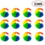 Beach Balls (12 Pack) - Inflatable Rainbow Beach Balls Beach Pool Party Toys Party Favors
