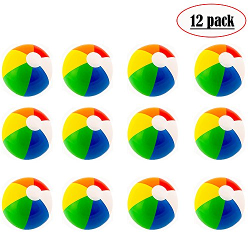 Beach Balls (12 Pack) - Inflatable Rainbow Beach Balls Beach Pool Party Toys Party Favors