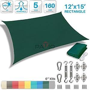Patio Paradise - Parasol tipo vela con kit de accesorios de montaje, rectangular