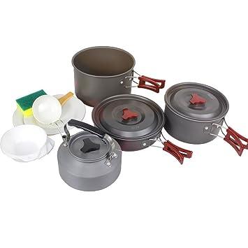 Kit de camping batería de cocina antiadherente sartenes platos ligero para Camping Gear senderismo barbacoa al aire libre incluido 4 - 5 persona: Amazon.es: ...