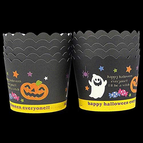 1 piece 50Pcs Halloween Cupcake Wrappers Halloween Pumpkin Ghost Pattern Hard Thick Muffin Cup Cupcake Liners Lace Cake Tools