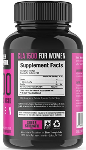 Extra Strength CLA for Women 1500mg High Potency Weight Loss Supplement Conjugated Lineolic Acid from Safflower Oil Non GMO + Stimulant Free 120 Softgels Sheer Strength Labs