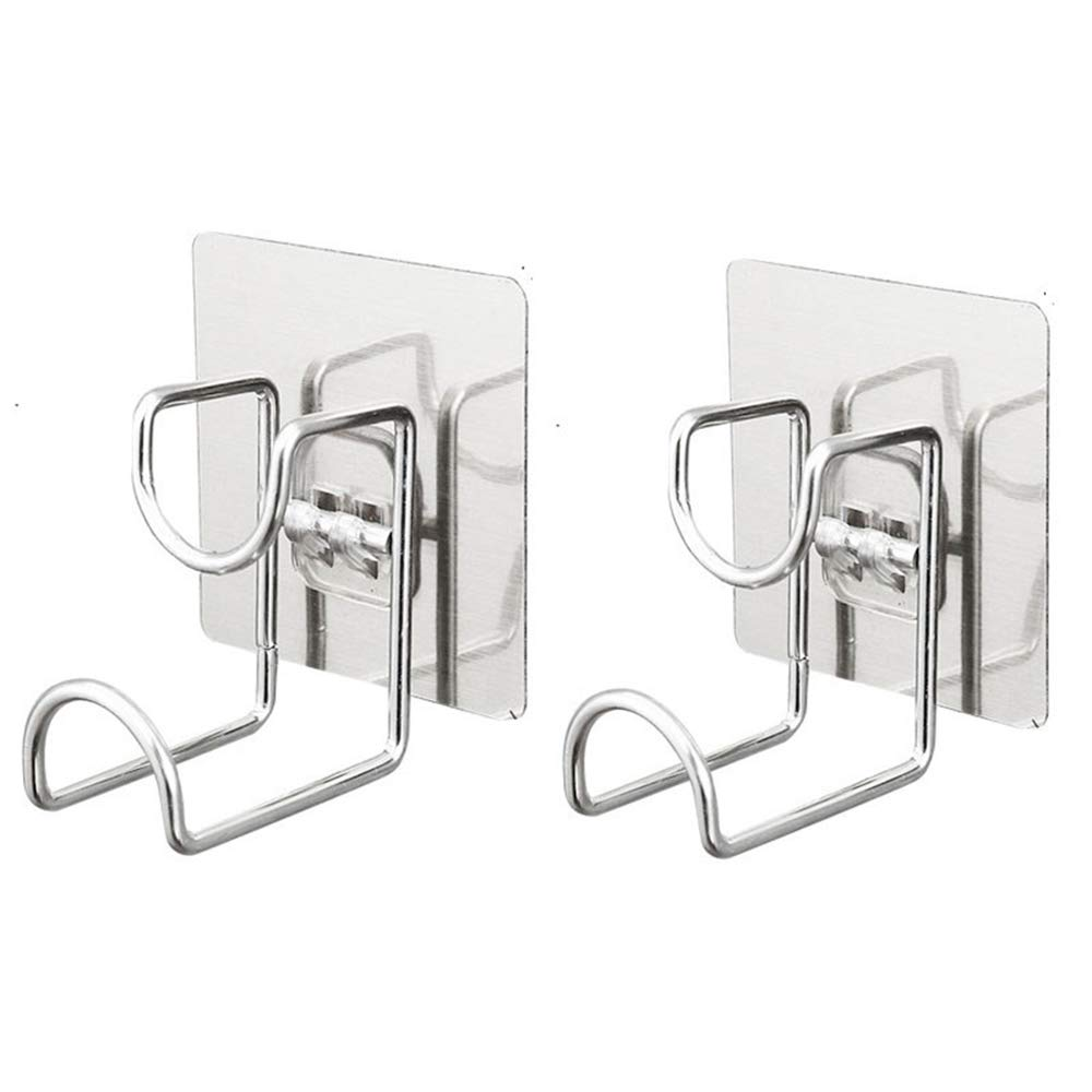 2 Pcs Adhesive Hooks for Home Use, Nail Free 304 Stainless Steel Ultra Strong Waterproof Hanger/Heavy Duty Wall Mounted Hook for Washbasin, Kitchen, Bathroom, Robe, Coat, Towel, Keys, Bags, Calendar MansWill