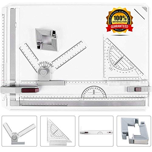 ONDY Drafting Table Portable A3 Drawing Board Multi-Function Drafting Tools Set, Architectural Technical Graphic Sketch Set with Set Square, Clamps, Protractor, Anti Slip Support Legs, Sliding Ruler (Portable Drawing Board With Attached Parallel Bar)