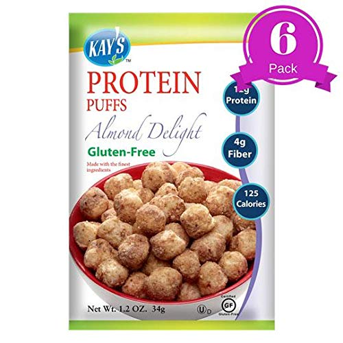 Kay's Naturals Protein Puffs, Almond Delight, Gluten-Free, Low Carbs, Low Fat, Diabetes Friendly All Natural Flavorings, 1.2 Ounce (Pack of ()