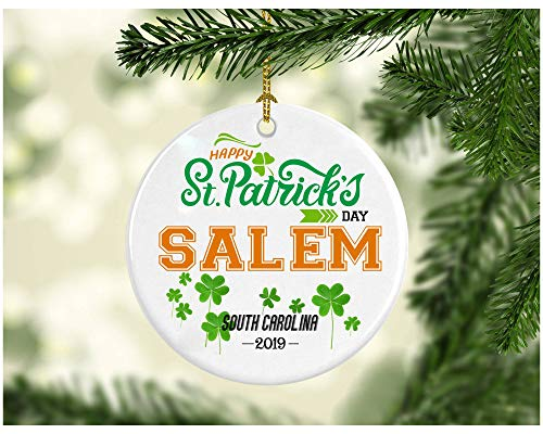 - St Patricks Day Ornaments Decorations - Personalized Hometown State - St Patricks Day Gifts Salem South Carolina - Ceramic 3 Inches