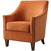 Emerald Home Kismet Wembley Orangeaid Accent Chair with Diamond Pattern Fabric And Nailhead Trim