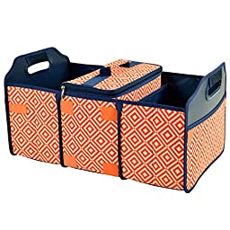 Original Folding Trunk Organizer with Cooler by Picnic at Ascot - Orange/Navy