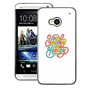 A-type Arte & diseño plástico duro Fundas Cover Cubre Hard Case Cover para HTC One M7 (You Make Me Happy White Teal Gold)