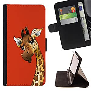 - Giraffe Cute Cartoon - - Style PU Leather Case Wallet Flip Stand Flap Closure Cover FOR Samsung Galaxy S6 - Devil Case -