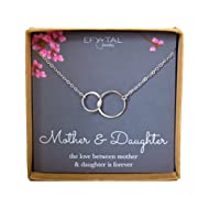 Mother Daughter Necklace - Sterling Silver two interlocking infinity circles, Mothers Day Jewelry...