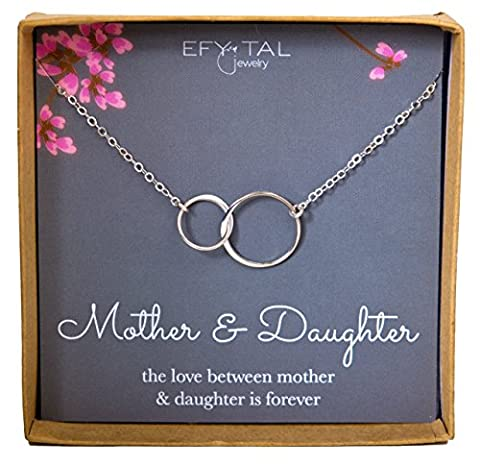 Mother Daughter Necklace - Sterling Silver two interlocking infinity circles, Mothers Day Jewelry - Mom Jewelry