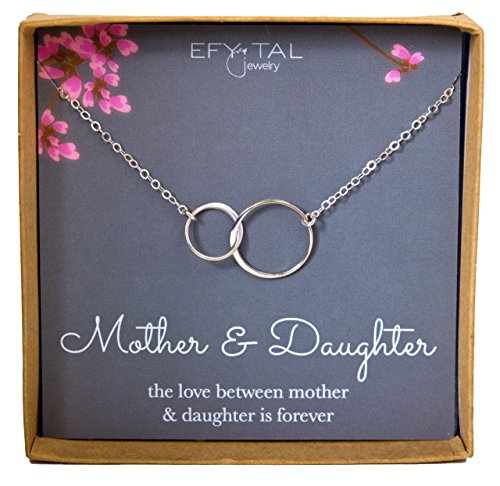 Mother Daughter Necklace – Sterling Silver two interlocking infinity circles, Mothers Day Jewelry Gift