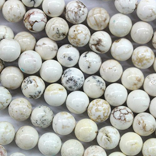 Natural White Turquoise Gemstones Loose Beads Findings Jewerlry Making (round 6mm)