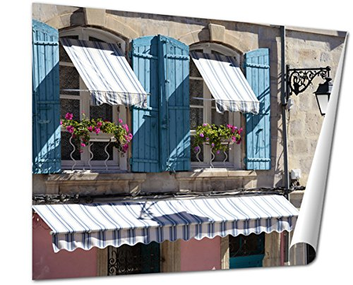 Ashley Giclee, France Provence Style Cottage Windows Blue Shutters And Flower Boxes, 16x20 Print