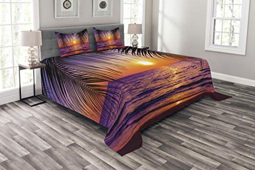 Lunarable Tropical Bedspread, Sunset Over The Ocean with Tropical Palm Trees Twilight Sundown Scenery, Decorative Quilted 3 Piece Coverlet Set with 2 Pillow Shams, King Size, Orange Purple (Ocean Bedspreads)