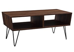 "WE Furniture AZF42CROCTDW Coffee Table, 42"" L x 20"" W x 18"" H, Dark Walnut"
